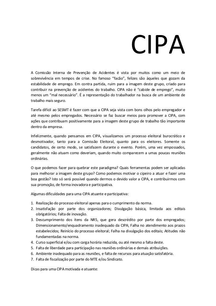Artigo sobre a CIPA