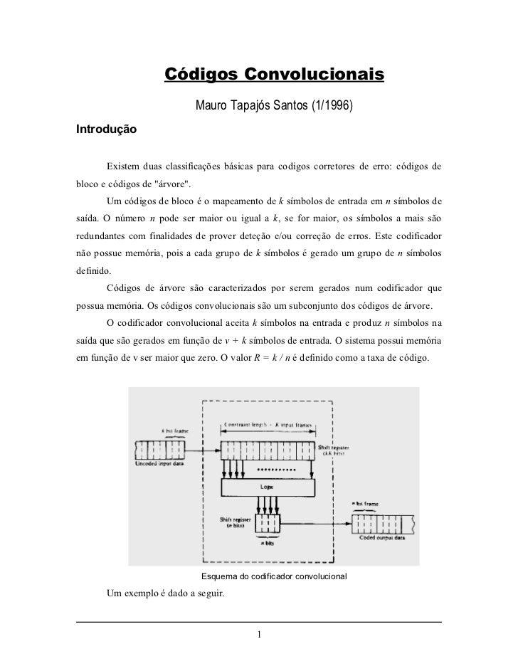 Códigos Convolucionais                               Mauro Tapajós Santos (1/1996)Introdução       Existem duas classifica...