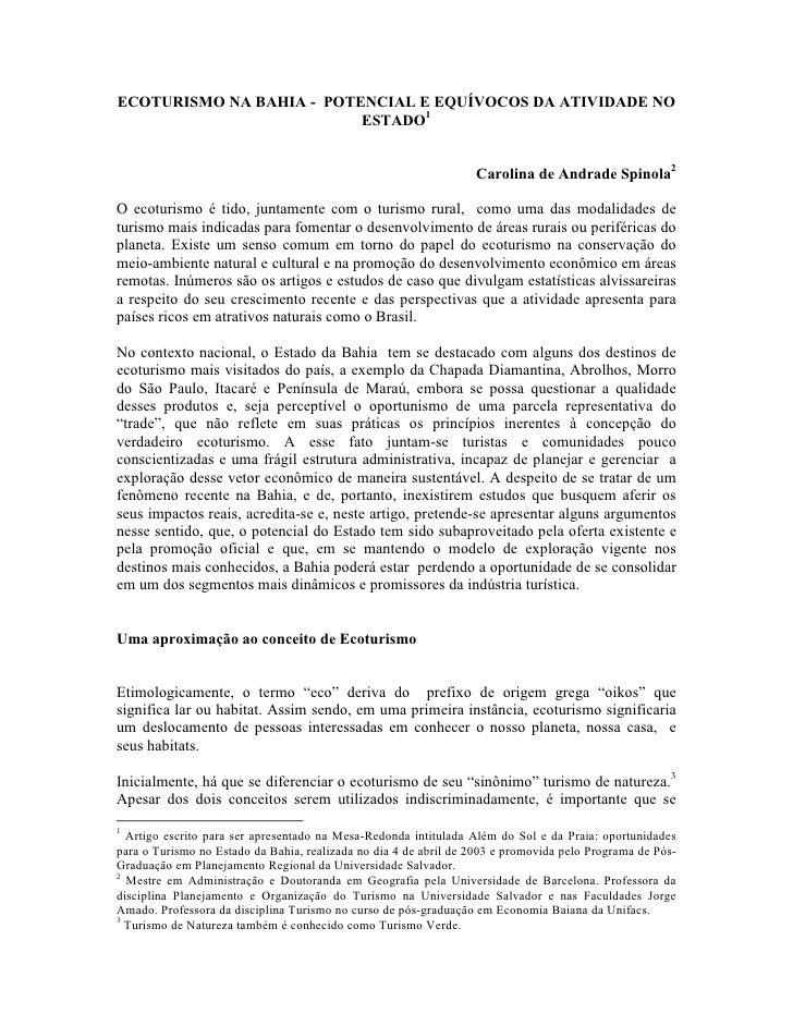 ECOTURISMO NA BAHIA - POTENCIAL E EQUÍVOCOS DA ATIVIDADE NO                           ESTADO1                             ...