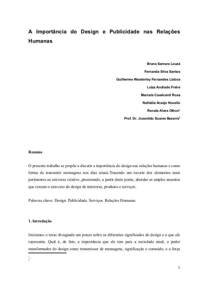 A Importância do Design e Publicidade nas RelaçõesHumanas                                                                 ...