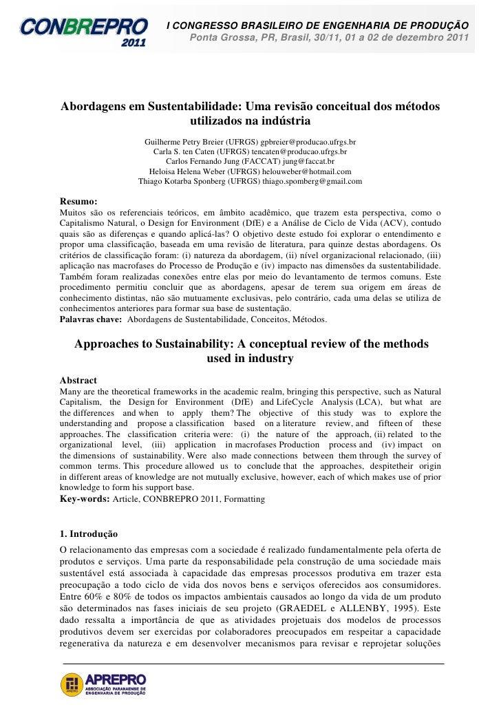 I CONGRESSO BRASILEIRO DE ENGENHARIA DE PRODUÇÃO                                 Ponta Grossa, PR, Brasil, 30/11, 01 a 02 ...