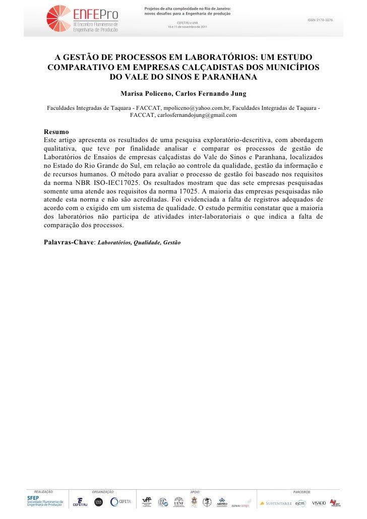 A GESTÃO DE PROCESSOS EM LABORATÓRIOS: UM ESTUDO COMPARATIVO EM EMPRESAS CALÇADISTAS DOS MUNICÍPIOS            DO VALE DO ...