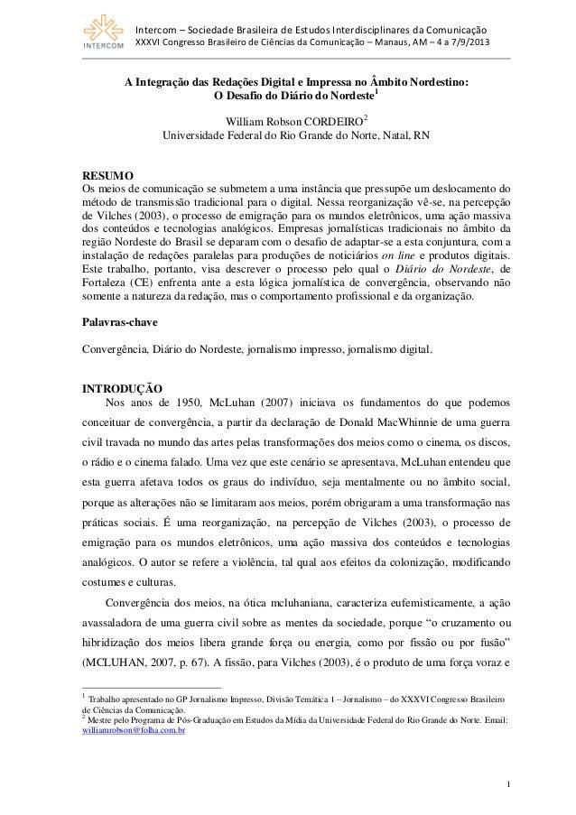 A Integração das Redações Digital e Impressa no Âmbito Nordestino