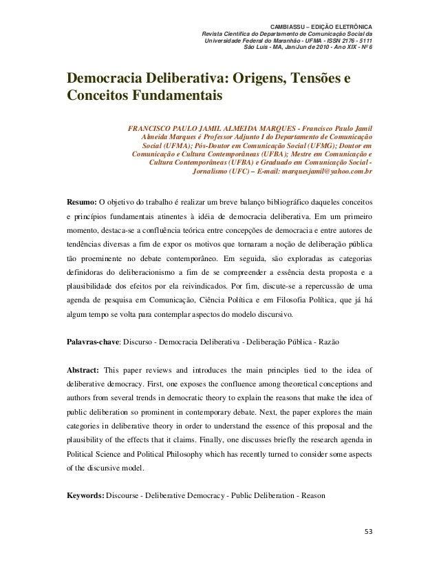 Democracia Deliberativa: Origens, Tensões e Conceitos Fundamentais