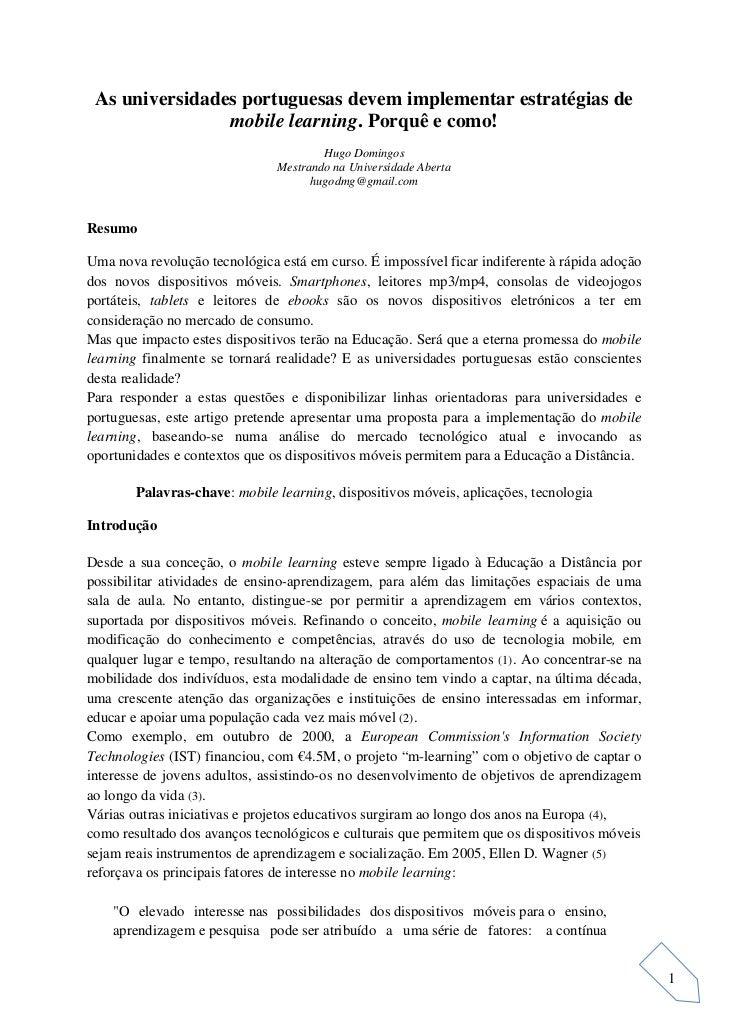As universidades portuguesas devem implementar estratégias de                mobile learning. Porquê e como!              ...