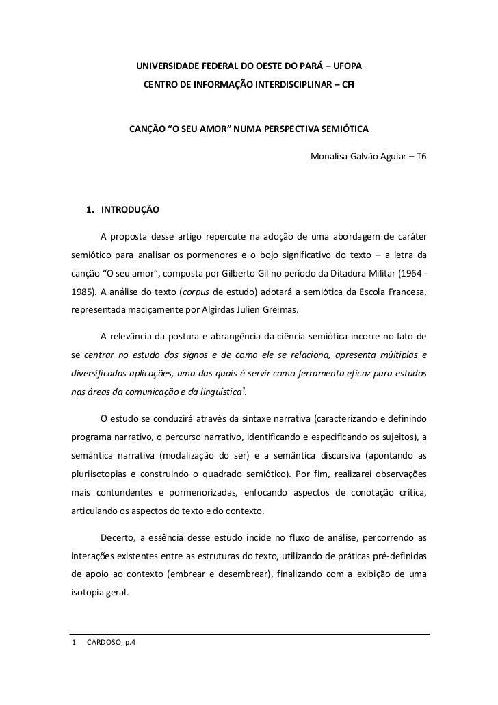 UNIVERSIDADE FEDERAL DO OESTE DO PARÁ – UFOPA                    CENTRO DE INFORMAÇÃO INTERDISCIPLINAR – CFI              ...