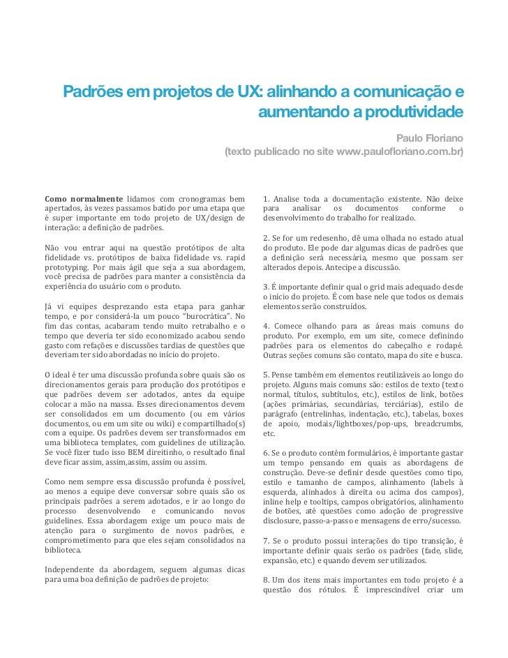 Padrões em projetos de UX: alinhando a comunicação e                                 aumentando a produtividade           ...