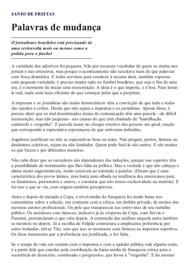 Artigo - Palavras de Mudança - Jânio de Freitas