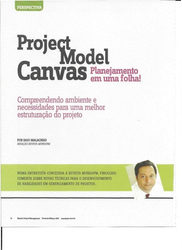 Artigo sobre lançamento do PMCanvas - revista Mundo PM - fevereiro / março 2013