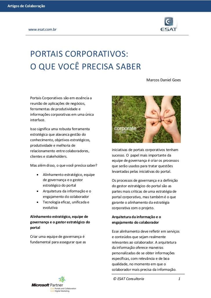 Artigos de Colaboração            www.esat.com.br             PORTAIS CORPORATIVOS:             O QUE VOCÊ PRECISA SABER  ...