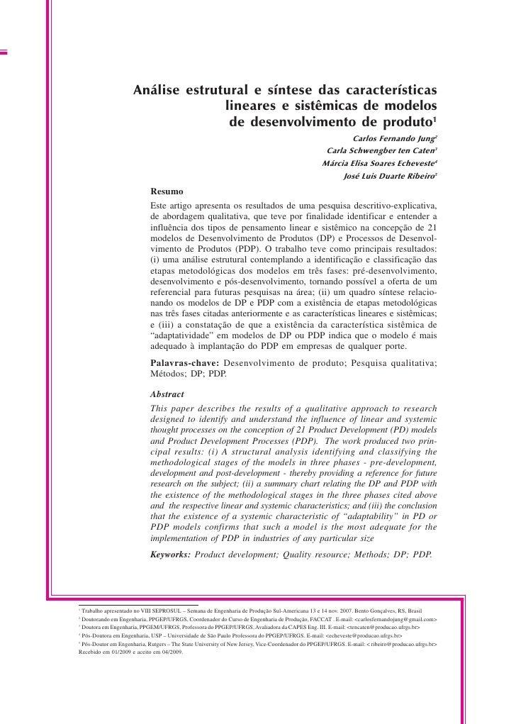 Análise Estrutural e Síntese das Características Lineares e Sistêmicas de Modelos de Desenvolvimento de Produto