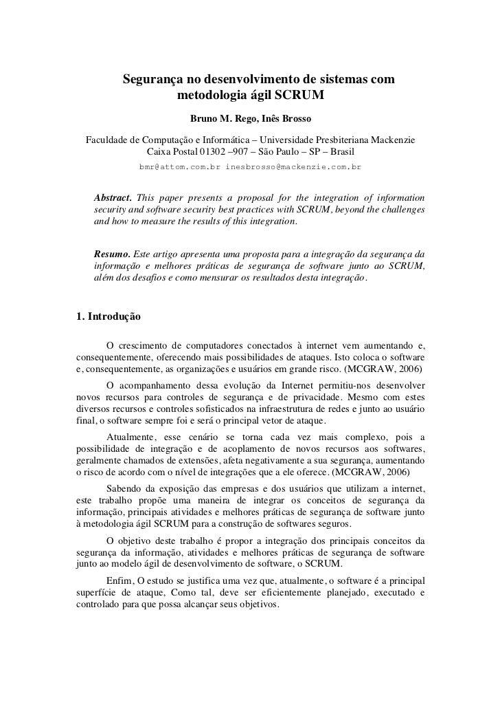 Segurança no desenvolvimento de sistemas com                   metodologia ágil SCRUM                            Bruno M. ...