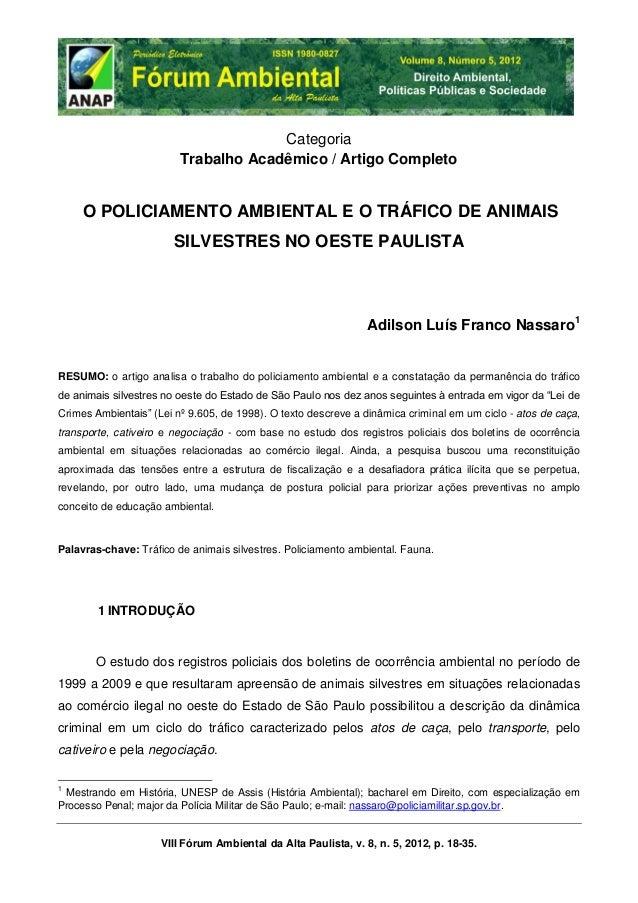 Artigo: O policiamento ambiental e o tráfico de animais silvestres no oeste paulista