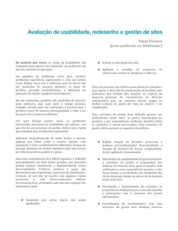 Avaliação de usabilidade, redesenho e gestão de sites