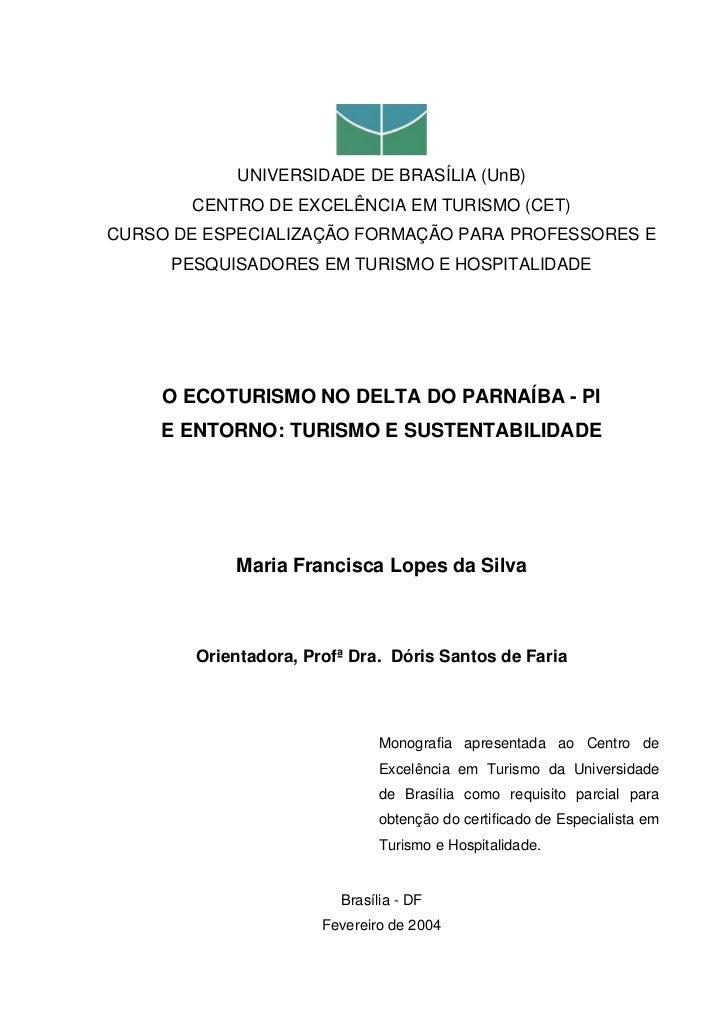 UNIVERSIDADE DE BRASÍLIA (UnB)       CENTRO DE EXCELÊNCIA EM TURISMO (CET)CURSO DE ESPECIALIZAÇÃO FORMAÇÃO PARA PROFESSORE...