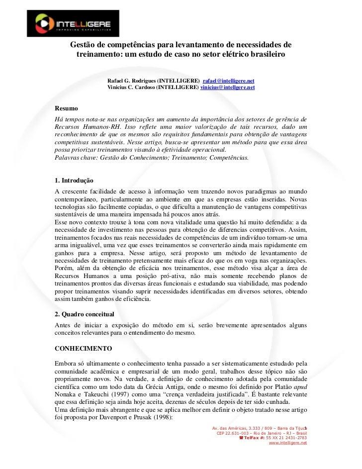 Gestão de competências para levantamento de necessidades de treinamento: um estudo de caso no setor elétrico brasileiro