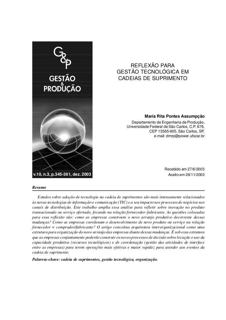 REFLEXÃO PARA GESTÃO TECNOLÓGICA EM CADEIAS DE SUPRIMENTO