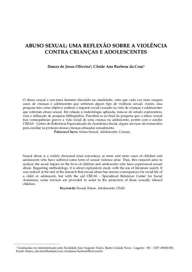 AABBUUSSOO SSEEXXUUAALL:: UUMMAA RREEFFLLEEXXÃÃOO SSOOBBRREE AA VVIIOOLLÊÊNNCCIIAA CCOONNTTRRAA CCRRIIAANNÇÇAASS EE AADDOO...