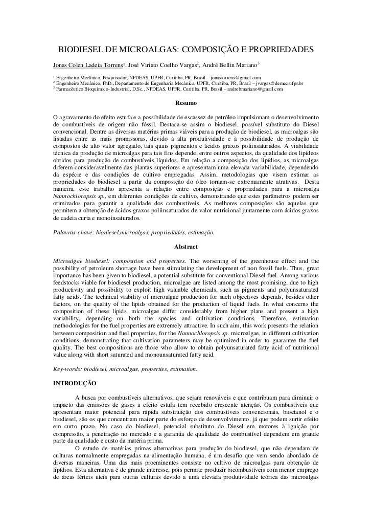 BIODIESEL DE MICROALGAS: COMPOSIÇÃO E PROPRIEDADESJonas Colen Ladeia Torrens¹, José Viriato Coelho Vargas2, André Bellin M...