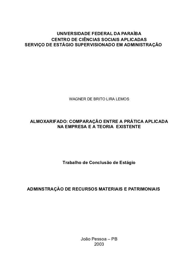UNIVERSIDADE FEDERAL DA PARAÍBA          CENTRO DE CIÊNCIAS SOCIAIS APLICADASSERVIÇO DE ESTÁGIO SUPERVISIONADO EM ADMINIST...