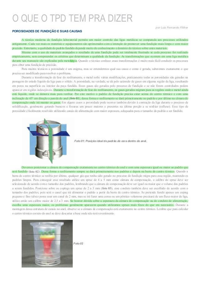 O QUE O TPD TEM PRA DIZER por Luiz Fernando Filther  POROSIDADES DE FUNDIÇÃO E SUAS CAUSAS A técnica moderna de fundição l...