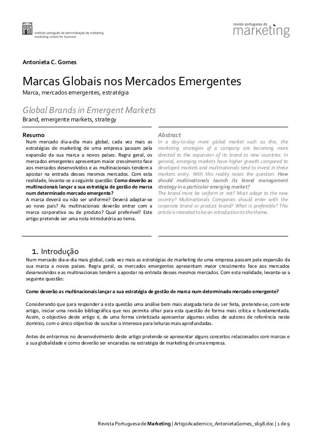 Antonieta C. Gomes  Marcas Globais nos Mercados Emergentes Marca, mercados emergentes, estratégia  Global Brands in Emerge...