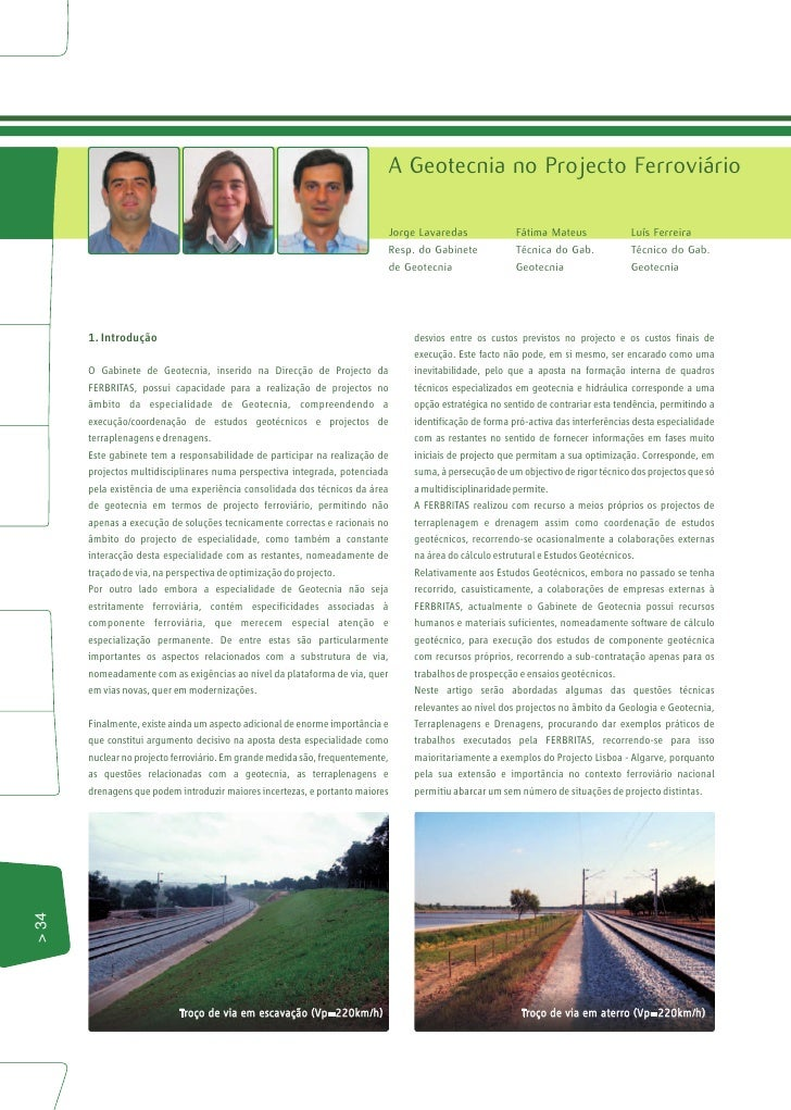 Geotecnia nos Projectos ferroviários