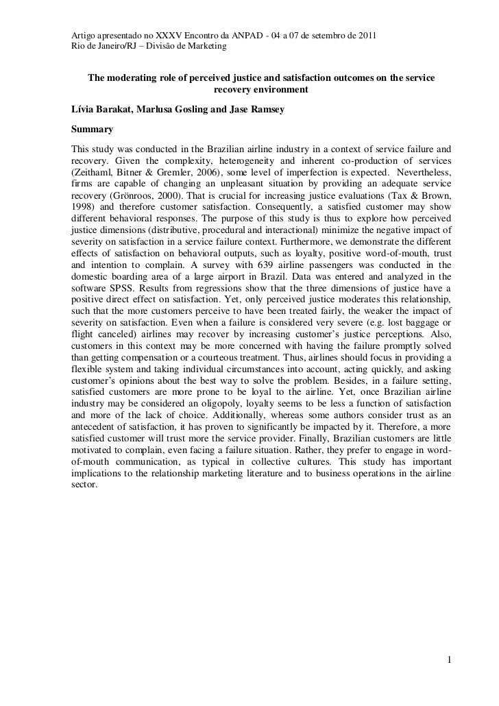 Artigo - The moderating role of perceived justice and satisfaction outcomes on the service recovery environment