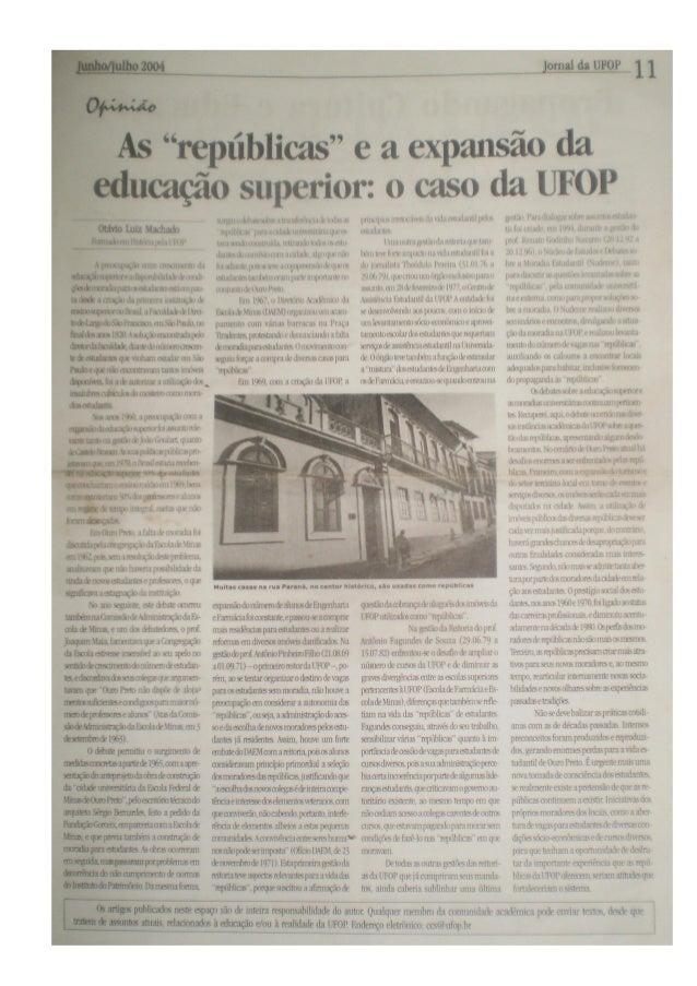 Artigo as repúblicas e a expansão da educação superior, de otávio luiz machado