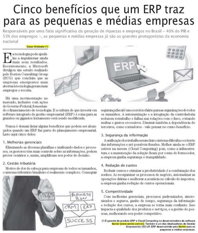 JORNAL EMPREGOS & NEGÓCIOS | Cinco benefícios que um ERP traz para as pequenas e médias empresas