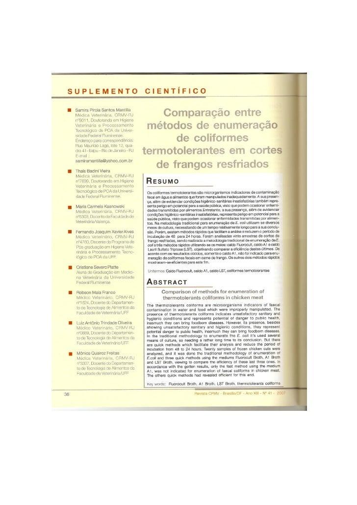 Comparação entre métodos de enumeração de coliformes termotolerantes em cortes de frango resfriados
