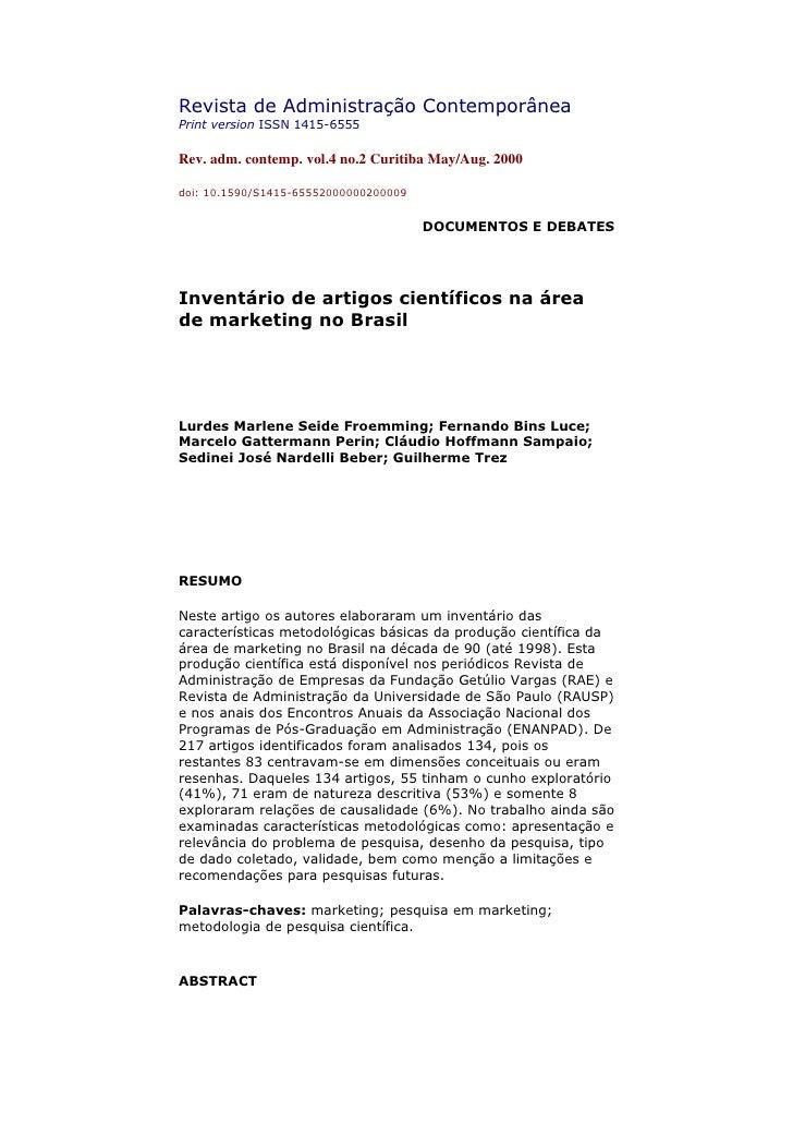 Revista de Administração Contemporânea Print version ISSN 1415-6555  Rev. adm. contemp. vol.4 no.2 Curitiba May/Aug. 2000 ...