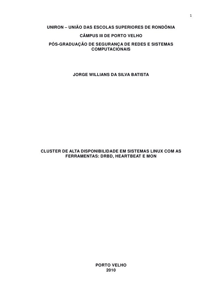 1  UNIRON – UNIÃO DAS ESCOLAS SUPERIORES DE RONDÔNIA               CÂMPUS III DE PORTO VELHO   PÓS-GRADUAÇÃO DE SEGURANÇA ...