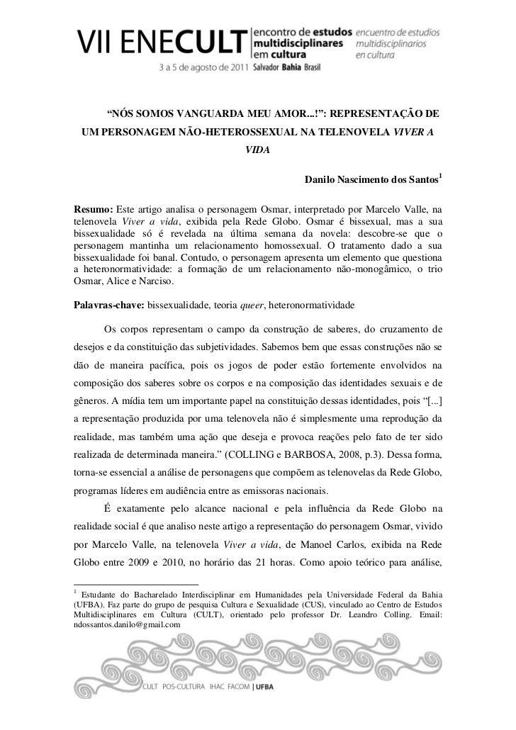 """""""NÓS SOMOS VANGUARDA MEU AMOR...!"""": REPRESENTAÇÃO DE    UM PERSONAGEM NÃO-HETEROSSEXUAL NA TELENOVELA VIVER A             ..."""