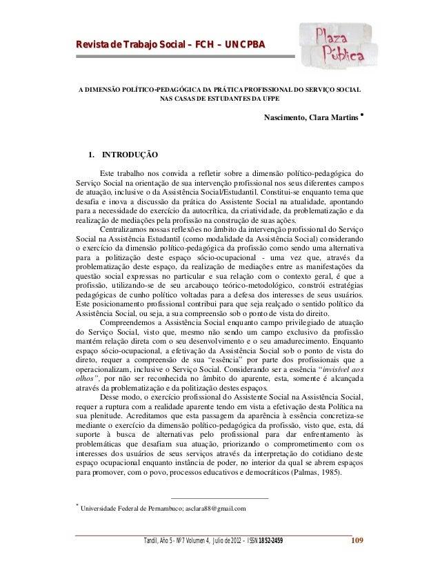 RReevviissttaa ddee TTrraabbaajjoo SSoocciiaall –– FFCCHH –– UUNNCCPPBBAA Tandil, Año 5 - Nº 7 Volumen 4, Julio de 2012 – ...