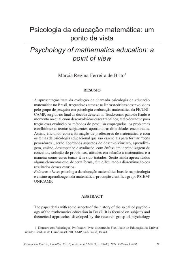 Psicologia da educação matemática: um                 ponto de vista    Psychology of mathematics education: a            ...