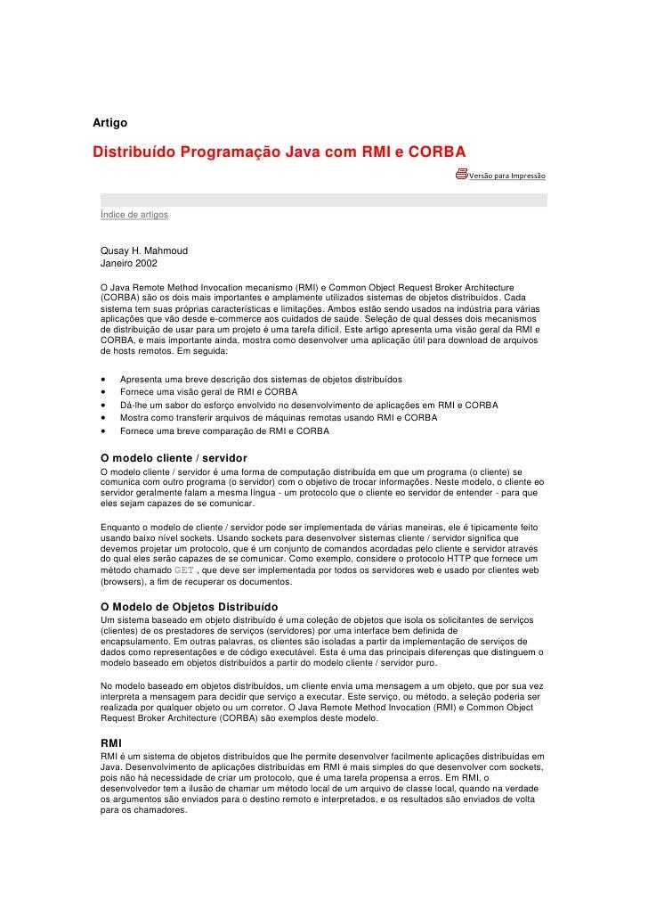 Artigo distribuidos programação java com rmi e cobra