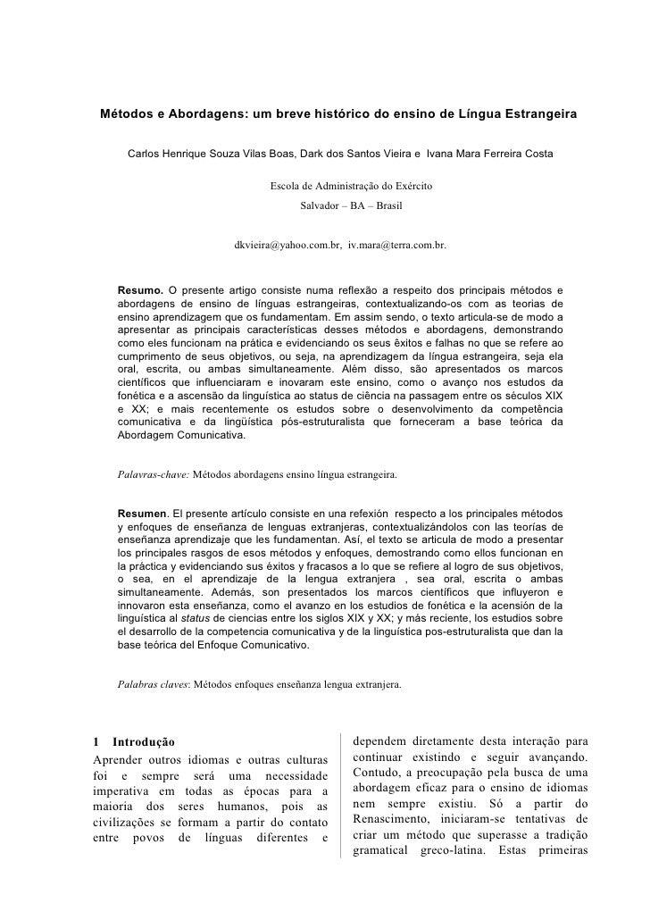 Métodos e Abordagens: um breve histórico do ensino de Língua Estrangeira        Carlos Henrique Souza Vilas Boas, Dark dos...