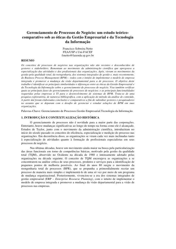 Gerenciamento de Processos de Negócio: um estudo teórico-comparativo sob as óticas da Gestão Empresarial e da Tecnologia  ...