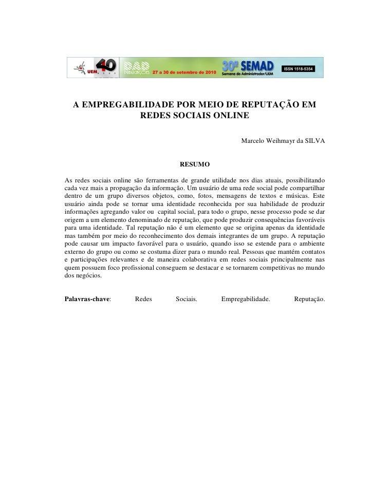 A EMPREGABILIDADE POR MEIO DE REPUTAÇÃO EM              REDES SOCIAIS ONLINE                                             R...