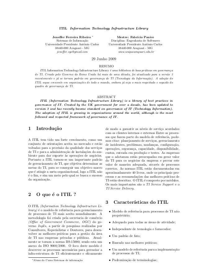 Jeneffer Ferreira Ribeiro - Artigo Engenharia de Softwares   ITIL
