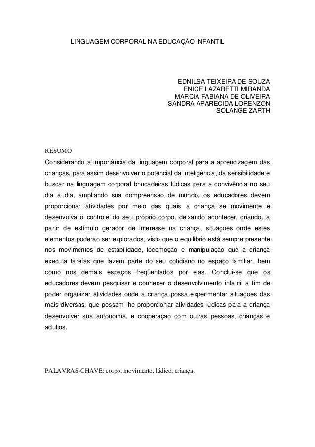 LINGUAGEM CORPORAL NA EDUCAÇÃO INFANTIL EDNILSA TEIXEIRA DE SOUZA ENICE LAZARETTI MIRANDA MARCIA FABIANA DE OLIVEIRA SANDR...