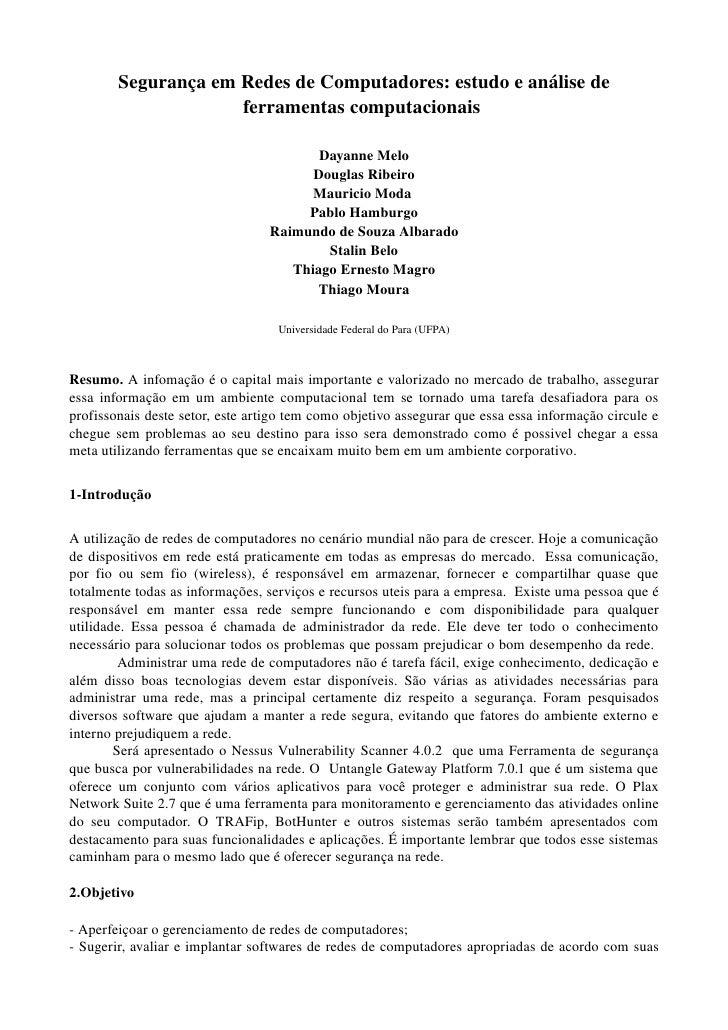 SegurançaemRedesdeComputadores:estudoeanálisede                       ferramentascomputacionais                ...