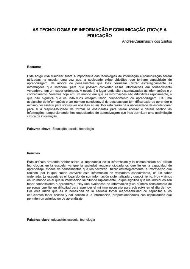 AS TECNOLOGIAS DE INFORMAÇÃO E COMUNICAÇÃO (TIC's)E A                         EDUCAÇÃO                                    ...