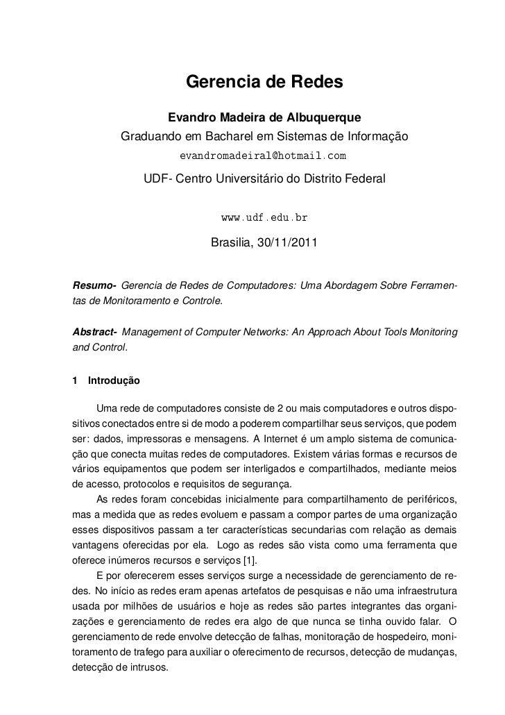 Gerencia de Redes                     Evandro Madeira de Albuquerque          Graduando em Bacharel em Sistemas de Informa...
