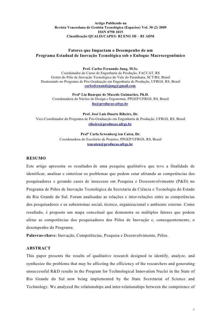 Artigo Publicado na                Revista Venezolana de Gestión Tecnológica (Espacios) Vol. 30 (2) 2009                  ...