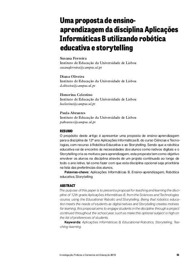 55Investigação, Práticas e Contextos em Educação 2013 Uma proposta de ensino- aprendizagem da disciplina Aplicações Inform...