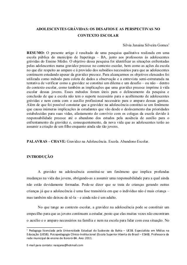 ADOLESCENTES GRÁVIDAS: OS DESAFIOS E AS PERSPECTIVAS NO                                       CONTEXTO ESCOLAR            ...
