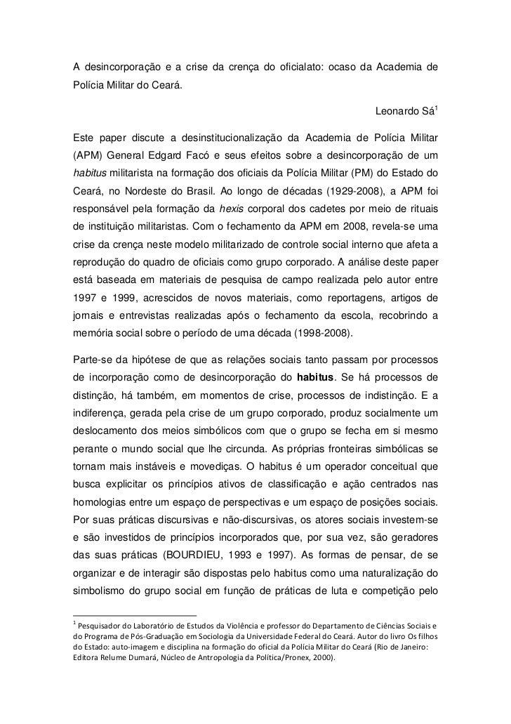 A desincorporação e a crise da crença do oficialato: ocaso da Academia dePolícia Militar do Ceará.                        ...