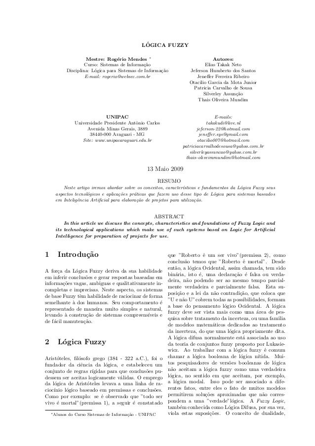 Jeneffer Ferreira Ribeiro - Artigo lógica fuzzy